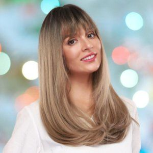 NEW Synthetic Wig Golden Blonde Brown Bangs